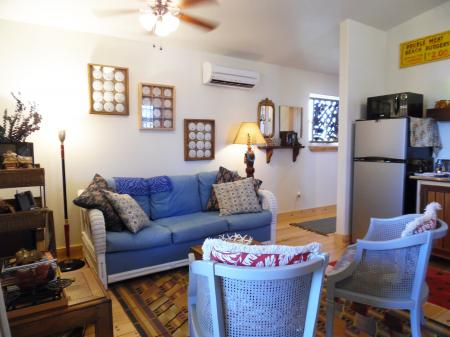 Click to enlarge image TV, music and books for the guest. - Casita Jardin, 1 Bedroom, 1 Bath Upper Floor Bungalow, Sleeps 2, - No children, No Pets, Walk to Restaurants, Nightlife, and Shopping