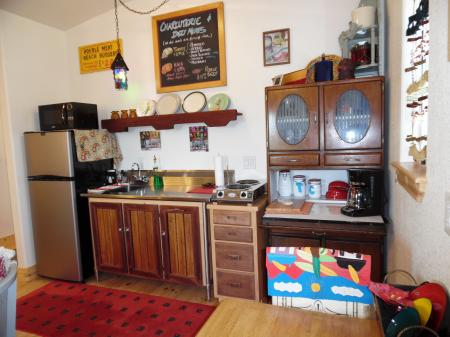 Click to enlarge image Compact cooking but just right for your stay. - Casita Jardin, 1 Bedroom, 1 Bath Upper Floor Bungalow, Sleeps 2, - No children, No Pets, Walk to Restaurants, Nightlife, and Shopping