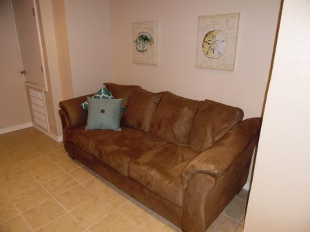Click to enlarge image Comfy sofa with a loveseat opposite - LOVE'S NEST - 2 BR 1 BA Lower Apartment. Walk to the beach!