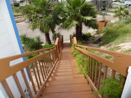Click to enlarge image Stairway to the street parking area - Cottage in the Dunes - One Bedroom Cottage with pool